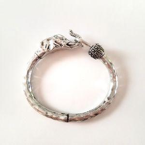 Lucky Brand Silvertone Elephant Cuff Bracelet Boho